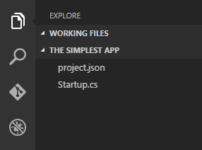 The simplest ASP.NET 5 project