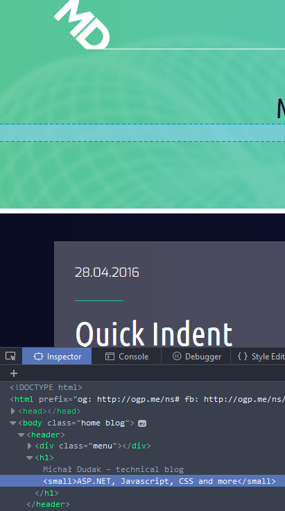 Firefox Dev Tools showing the Inspector tab